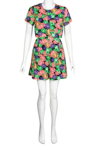 View Item Tropical Leaf Print Cut Out Crop Top Playsuit